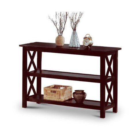 Cappuccino Wood Sofa Table Bookshelf-Living Room > Console & Sofa Tables-Loluxe
