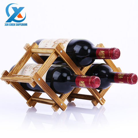 Carbon Color Wood Folding 3 Bottle Wine Bottle Holder Rack-Kitchen > Wine Racks and Coolers-Loluxe