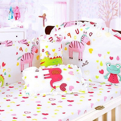 Cartoon Character Embroidered Baby Nursery 4-6-PC Bed Set 21 Styles-Loluxe