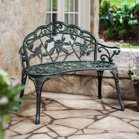 Cast Aluminum Loveseat Garden Bench with Rose Floral Decoration-Outdoor > Outdoor Furniture > Garden Benches-Loluxe