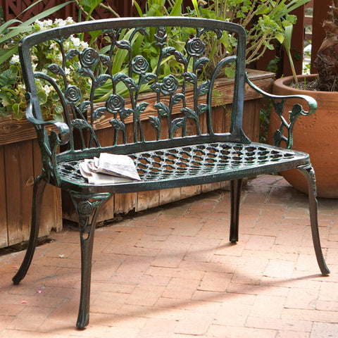 Cast Aluminum Outdoor Rose Metal Garden Bench in Green Finish