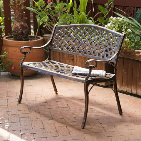 Cast Aluminum Weather Resistant Garden Patio Bench in Antique Copper Finish-Outdoor > Outdoor Furniture > Garden Benches-Loluxe