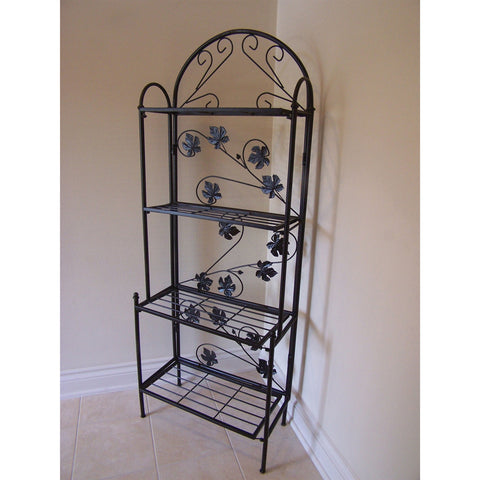 Cast Iron Bakers Rack with Grape Vine Design in Antique Bronze-Kitchen > Bakers Racks-Loluxe