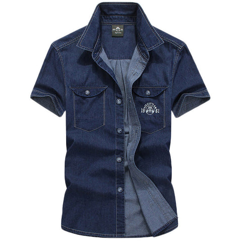 Casual Denim Men's Short-Sleeve Cotton Shirt M-5XL-Loluxe