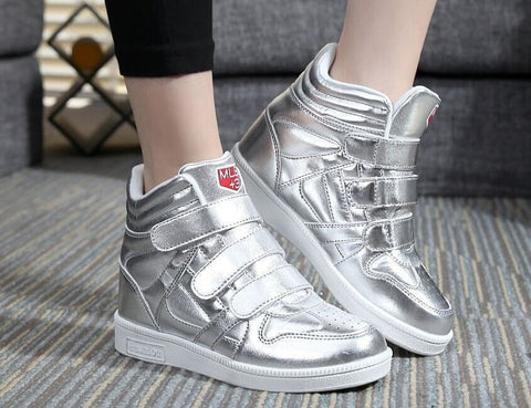 Casual Height-Increasing Wedge-Heel High-Top Sneakers 2 Colors-Loluxe