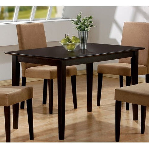 Casual Rectangular Dining Table in Dark Brown Cappuccino Wood Finish-Dining > Dining Tables-Loluxe