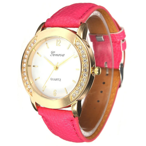 Casual Rhinestone Gold Color Case PU Leather Band Women Quartz Wrist Watch-Loluxe