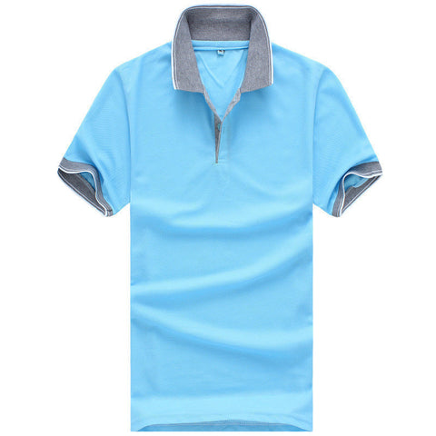 Casual Two-Tone Short-Sleeve Polo-Style Men's Top XL-3XL 8 Colors-Loluxe