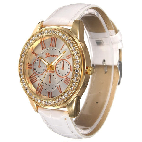 Casual Women Crystal PU Leather Band Analog Quartz Wrist Watch-Loluxe