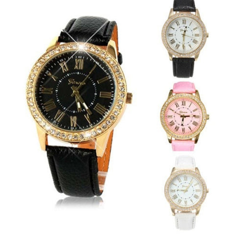 Casual Women Rhinestone Roman Number PU Leather Band Wrist Watch-Loluxe