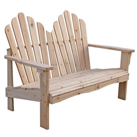 Cedar Wood Outdoor Patio 2-Seat Adirondack Chair Style Loveseat-Outdoor > Outdoor Furniture > Adirondack Chairs-Loluxe