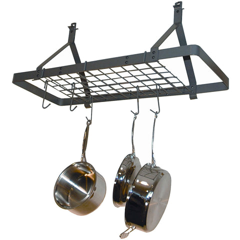 Ceiling Mount Rectangle Pot Rack in Hammered Steel-Kitchen > Pot Racks-Loluxe