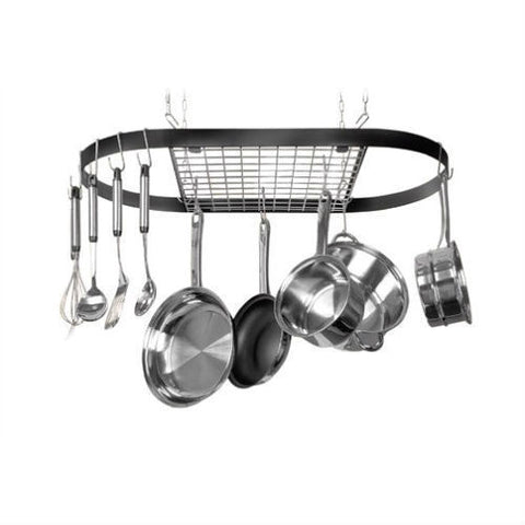 Ceiling Mount Wrought Iron Hanging Oval Pot Rack with 12 Hooks-Kitchen > Pot Racks-Loluxe
