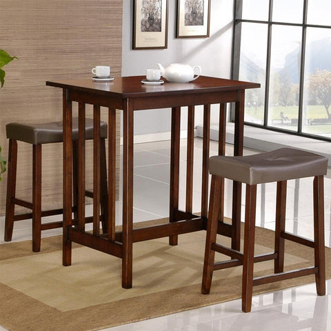 Cherry Finish 3-Piece Counter Height Dining Table & Chairs Set-Dining > Dining Sets-Loluxe