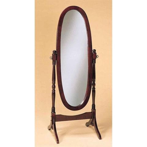 Cherry Finish Oval Cheval Mirror Full Length Solid Wood Floor Mirror-Accents > Mirrors-Loluxe