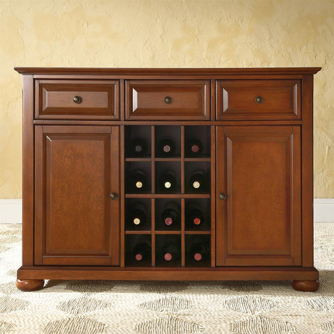 Cherry Wood Dining Room Storage Buffet Cabinet Sideboard with Wine Holder-Dining > Sideboards & Buffets-Loluxe