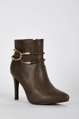 Chic Ankle Detail Pointed Toe Heeled Boots-Footwear > High Heels-Loluxe