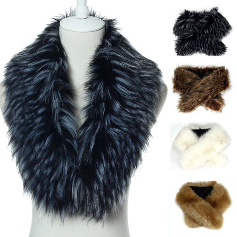 Chic Classic Winter Faux Fur Ladies Collar Scarf 5 Colors-Loluxe