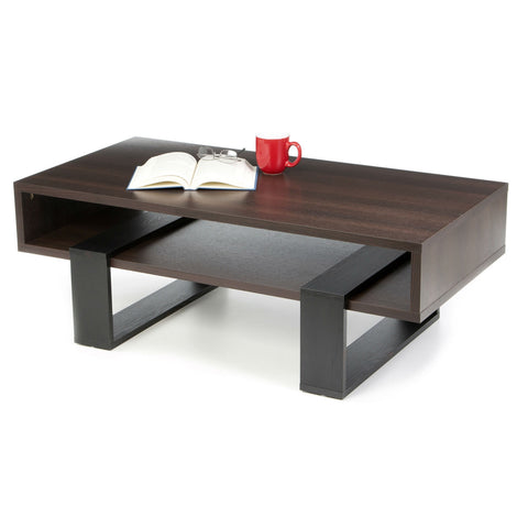 Chic Modern Cut Out Design Coffee Table in Dark Walnut-Living Room > Coffee Tables-Loluxe