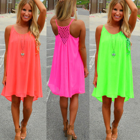 Chiffon Backless Neon Summer Dress Beach Cover Up S-3XL 3 Colors-Loluxe