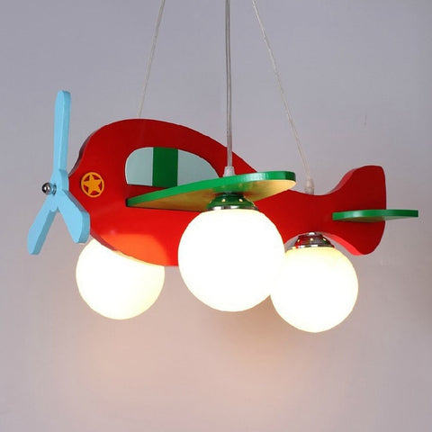 Children Model Plane Bedroom Pendant Lamps glass Lampshade Kids Lights Fixtures E27 LED ,-Loluxe