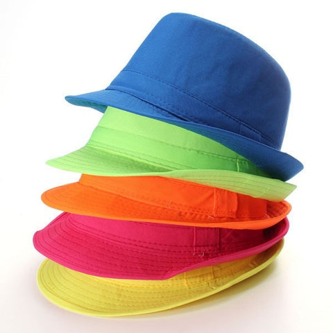 Children's Jazz Neon Panama Fedora Trilby Sun Beach Hat 5 Colors-Loluxe