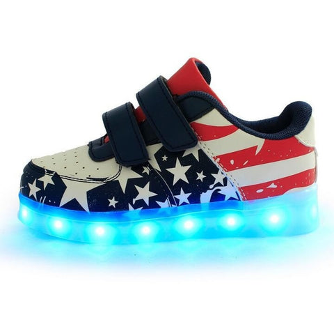 Children's LED USB-Charging Luminous Star Stripe Sneakers 2 Colors-Loluxe