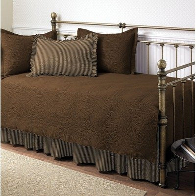 Chocolate 5-Piece Daybed Set with Quilt, Shams, and Bed Skirt-Bedroom > Comforters and Sets-Loluxe