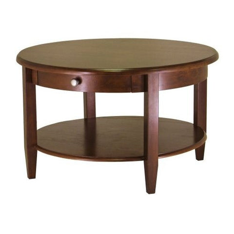 Circular Round Coffee Table in Antique Walnut Finish-Living Room > Coffee Tables-Loluxe