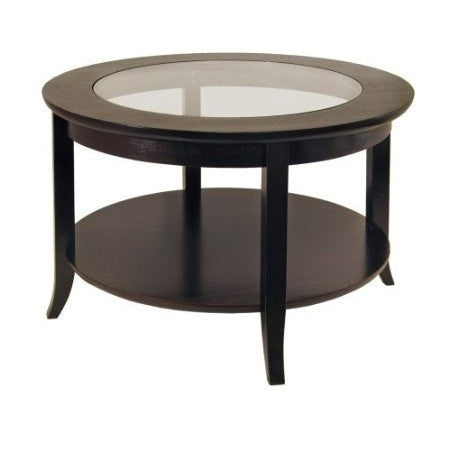 Circular Round Espresso Finish Coffee Table with Glass Inset-Living Room > Coffee Tables-Loluxe