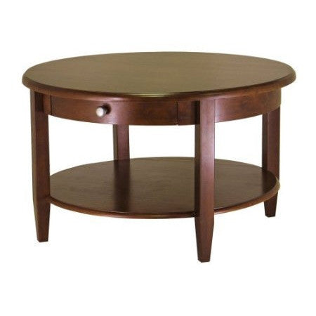 Circular Wood Coffee Table with Bottom Shelf and Drawer-Living Room > Coffee Tables-Loluxe