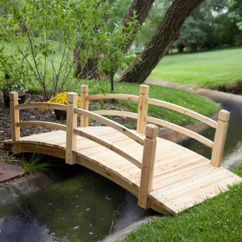 Classic 6-Ft Garden Bridge in Unfinished Fir Wood