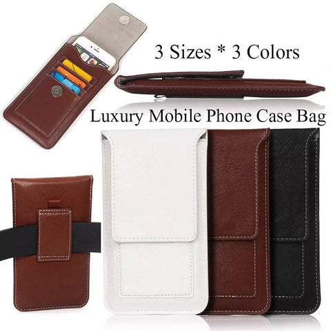 Classic Business Style Universal Leather Cellphone Case Pouch w/Holster Clip - 3 Sizes 3 Colors-Loluxe