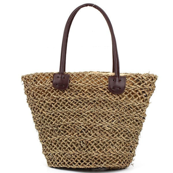 Classic Hollow Straw Beach Tote-Handbags-Loluxe