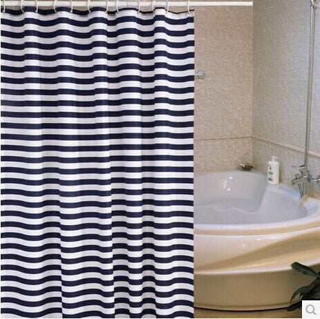 Classic Navy Stripe Mildew-Resistant Thick Eco-Friendly Waterproof Shower Curtain 6 Sizes-Loluxe