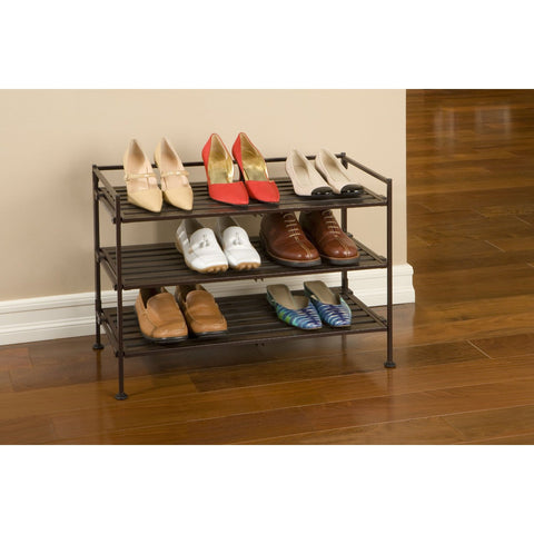 Classic Stackable Folding Utility Shoe Rack in Mocha Finish-Accents > Shoe Racks-Loluxe