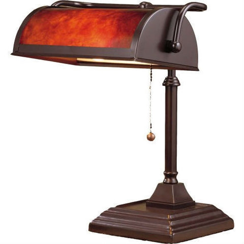 Classic Style Bankers Lamp with Mica Shade Table Desk Lamp-Lighting > Desk Lamps-Loluxe
