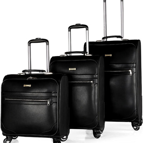 Classic Style Locked Spinner Wheel High-Quality PU Leather Luggage 3 Sizes-Loluxe