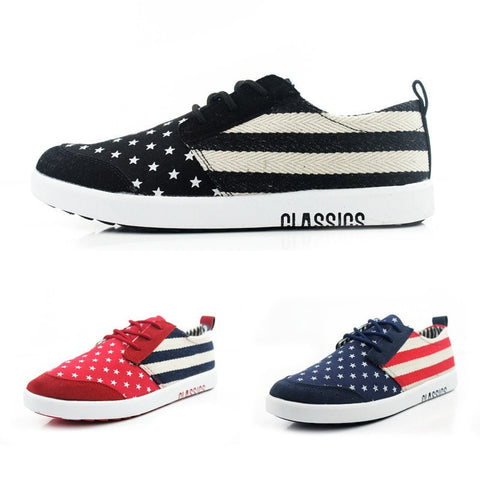 Classic Style Men's USA Flag Hip Hop Flat Heel Canvas Sneakers 3 Colors-Loluxe