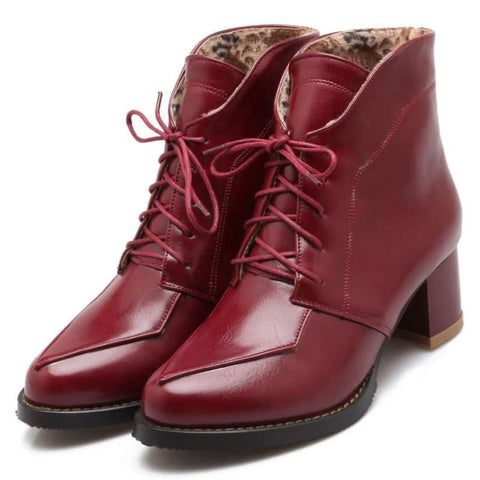 Classic Vintage-Style Lace-Up Round-Toe Platform Casual Ankle Boots 3 Colors-Loluxe