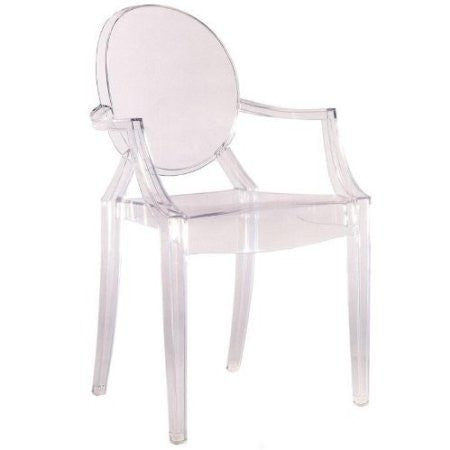 Clear Stacking Acrylic Arm Chair - Indoor or Outdoor Dining Chair-Dining > Dining Chairs-Loluxe