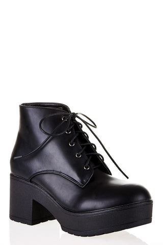 Cleated Lace-Up Ankle Boot-Footwear > Boots-Loluxe
