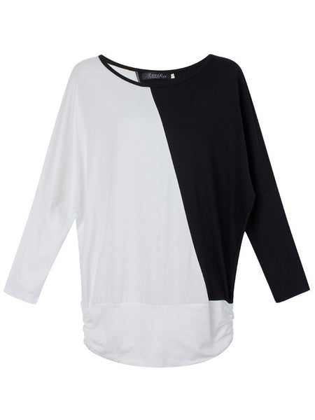 Color-Block Cozy Comfy Batwing Fashion Top S-2XL 4 Colors-T-shirt/Tee-Loluxe