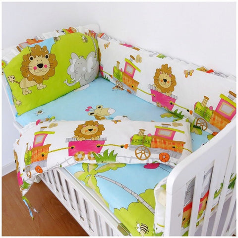 Colorful Animal-Print 100% Cotton 3-PC Nursery Bedding Set 7 Sizes-Loluxe