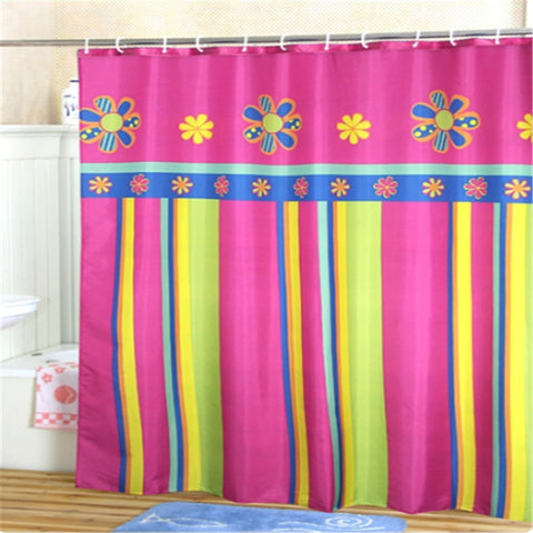 Colorful Floral Stripe Waterproof Eco-Friendly Fabric Shower Curtain 8 Sizes-Loluxe