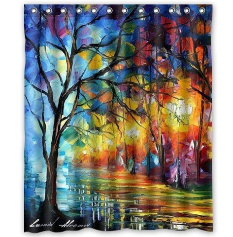 "Colorful Rainy Night Waterproof 66 x 72"" Shower Curtain-Loluxe"
