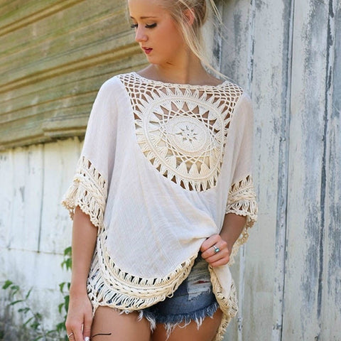 Comfortable Boho-Style Crochet Knit Tunic Top One Size 3 Colors-Loluxe
