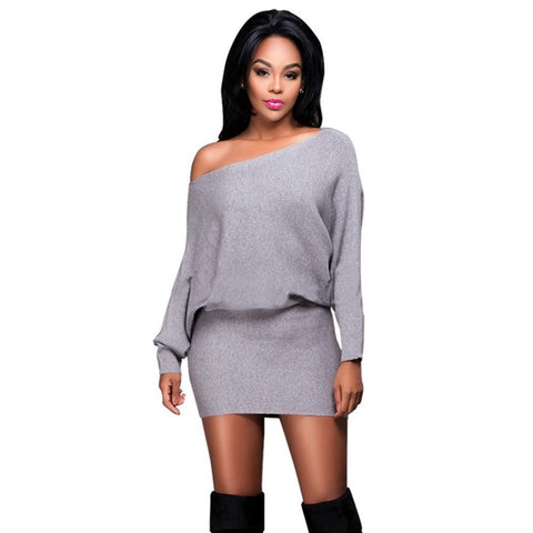Comfortable Relax-Fit Sexy Off-Shoulder Batwing Mini Dress S-XL 3 Colors-Loluxe