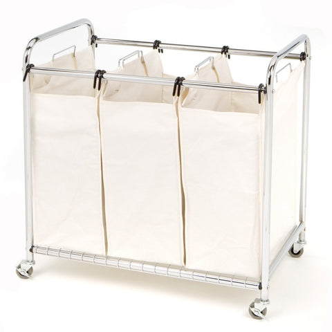 Commercial-Grade Steel Frame 3-Bag Laundry Hamper Cart-Bathroom > Laundry Hampers-Loluxe