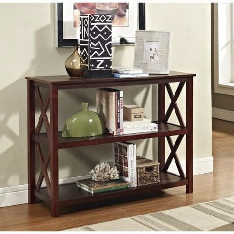 Console Sofa Table 3-Shelf Accent Display Bookcase in Espresso-Living Room > Console & Sofa Tables-Loluxe